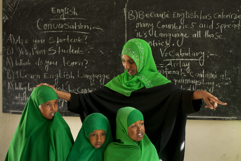 Fatun Ahmed Farah runs an English conversation class for fourth graders at Borama Girls Primary School in northwestern Somaliland. Photo: Anna Kari