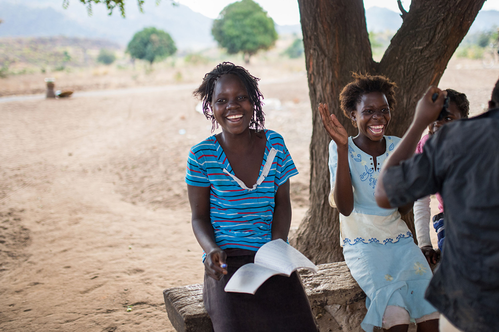 Fourteen-year-old Evelyin Chasweka (left) is president of the children's parliament in Ndjoka, a village in southeast Malawi. Photo: Bente Marei Stachowske