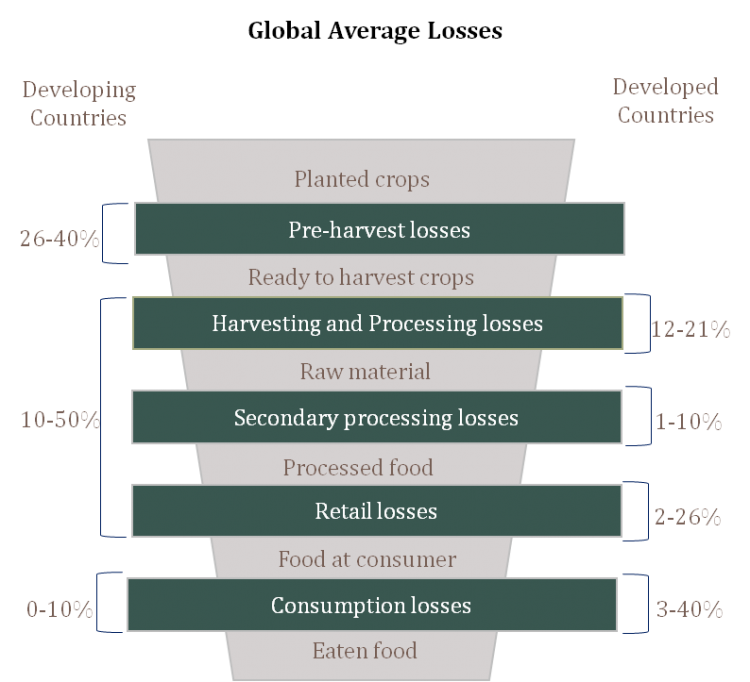 Developing countries lose more in the earlier end of the supply chain, such as before the harvest or during processing. In contrast, the developed world loses far more as consumption losses (food that perishes before it can be consumed).