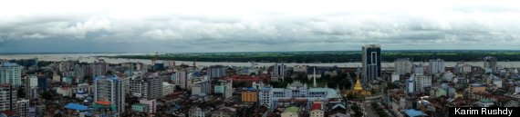 The view from the top floor inside one of downtown Yangon's few high-rise office towers