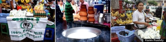 The local milk and dairy products on offer at outdoor markets in Yangon