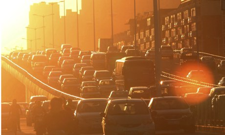 Traffic in Tianjin, China. Some estimates suggest that if China and India reached western levels of car ownership, they could have 2bn cars between them. Photograph: Liu Dongyue/ Liu Dongyue/Xinhua Press/Corbis