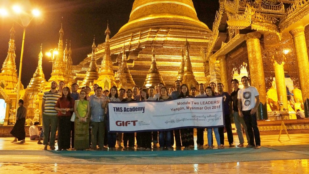 Previous programme cohort in front of the iconic Shwedagon, 2015