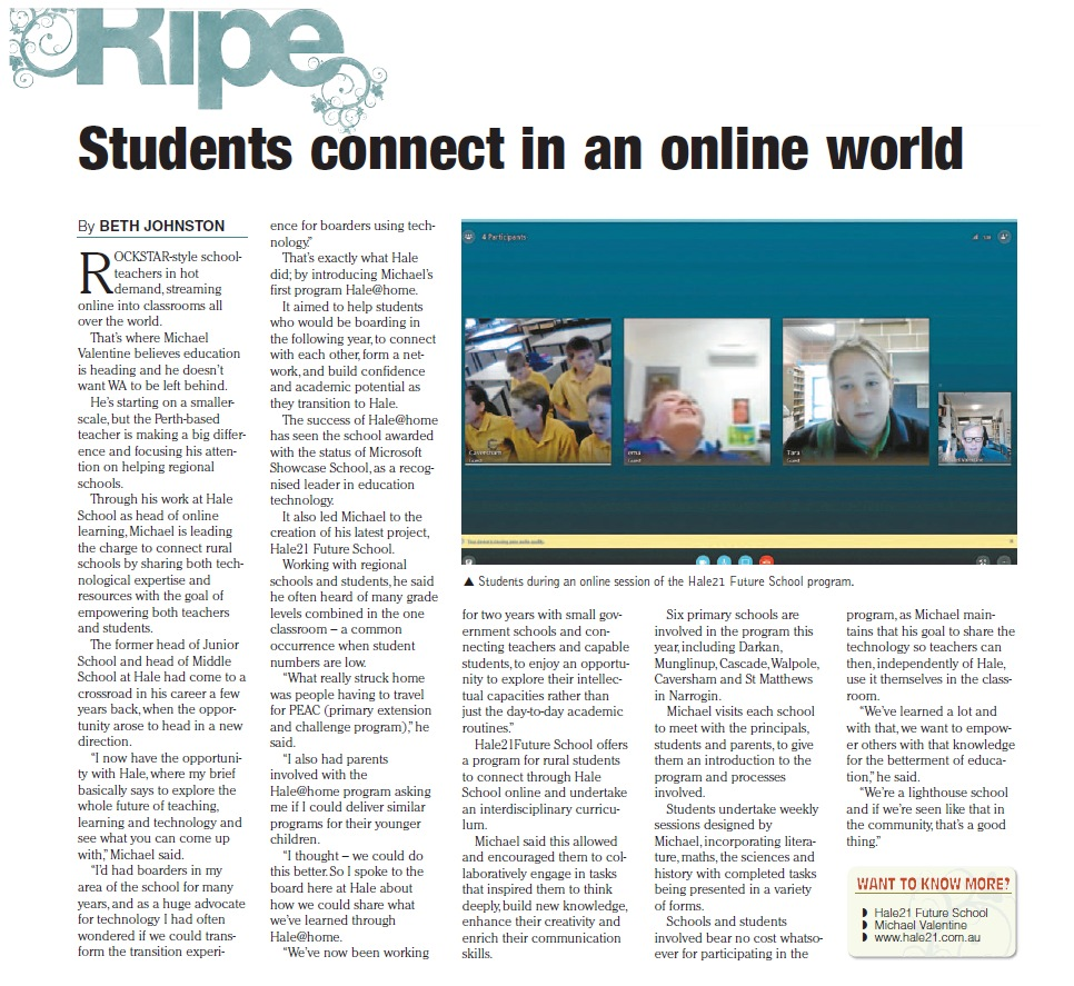 """Hale21FutureSchool offers a program for rural students to connect through Hale School online and undertake an interdisciplinary curriculum"""
