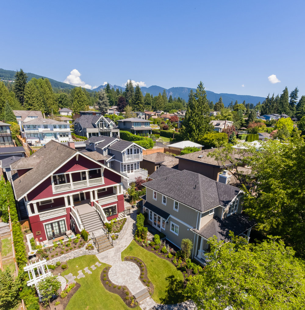 Aerial view of property showing Vinson House and the two new detached dwellings.