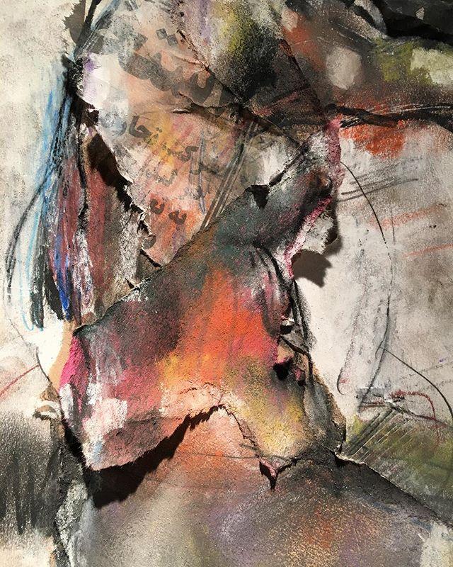 ...3D.... collage, pastels . . . #drawing #sketch #collage #workonpaper #art