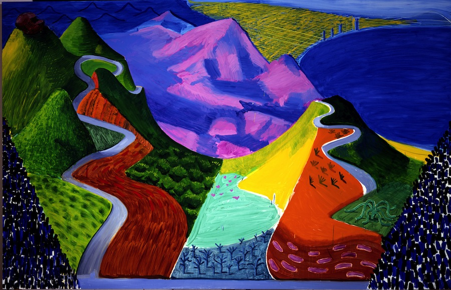 Pacific Coast Highway and Santa Monica  , 1990 [Pacific Coast Highway et Santa Monica] Huile sur toile 198 x 305 cm   © David Hockney Photo : Steve Oliver Collection particulière, États-Unis