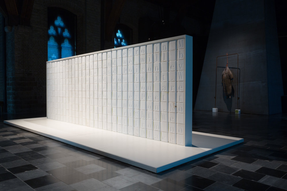 Wilmer Wilson IV,  Measures Not Men,  2017, salt blocks, aluminum, wood, 8 x 20 x 6.25 feet (96.5 x 236 x 75 inches, 245 x 600 x 190 cm). Installation view: Fire Bill's Spook Kit, In Flanders Fields Museum, Ypres, Belgium, through January 7, 2018. Image courtesy the artist and Connersmith Gallery