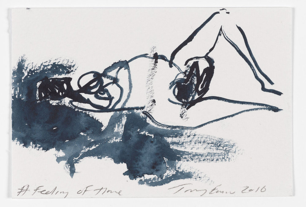 Tracey Emin,  A Feeling of Time , 2016 gouache on paper 10 x 14,8 cm 3 7⁄8 × 5 3⁄4 in. Photo credit: Prudence Cummings Associates Courtesy the Artist and Xavier Hufkens, Brussels