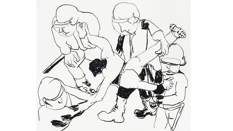Anne-Marie Schneider,  Sans titre , 1996-1997, fusain sur papier. Fonds régional d'Art contemporain Provence-Alpes-Côte d'Azur.