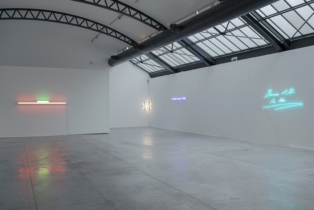 Shaping Light  - curated by Albert Baronian, vue d'installation, Fondation CAB. Dan Flavin, Joseph Kosuth, Tracey Emin Photo credit: Isabelle Arthuis