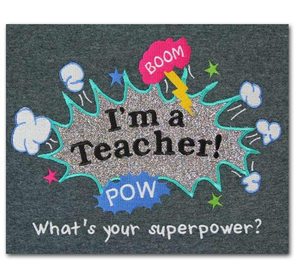 """Bestill hos oss flotte lærer-kort med ferdige trykket oppmuntringer.  Ramme et slik bilde inn og gi som gave til læreren. Et flott bilde å sette på lærerkontoret.  Teksten kan eksempel være """" I teach. What is your superpower?"""".  Et utvalg av 10-20 ulike bilder med oppmuntrende lærersitater på."""