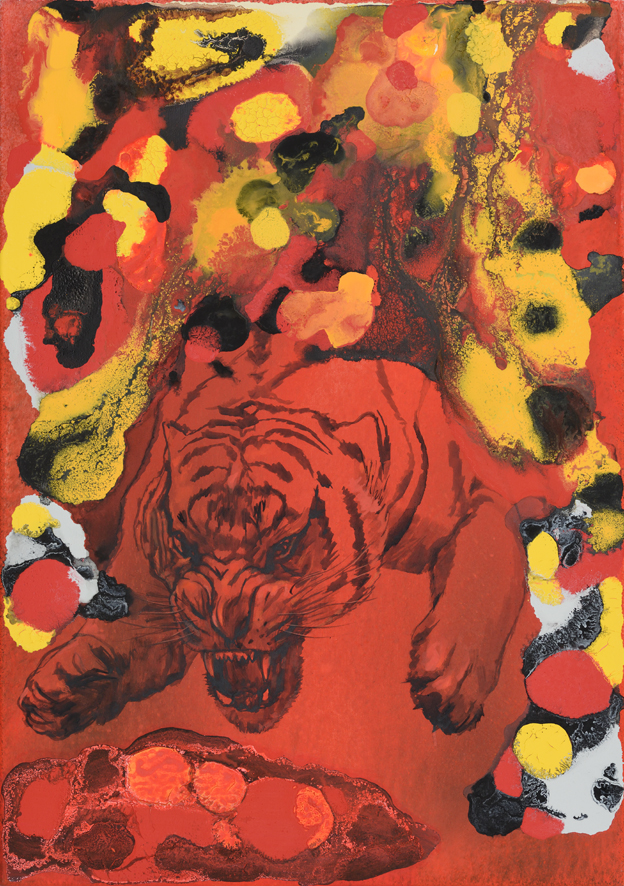 Hořící tygr, 2013–16, akryl na plátně, 100×70 cm