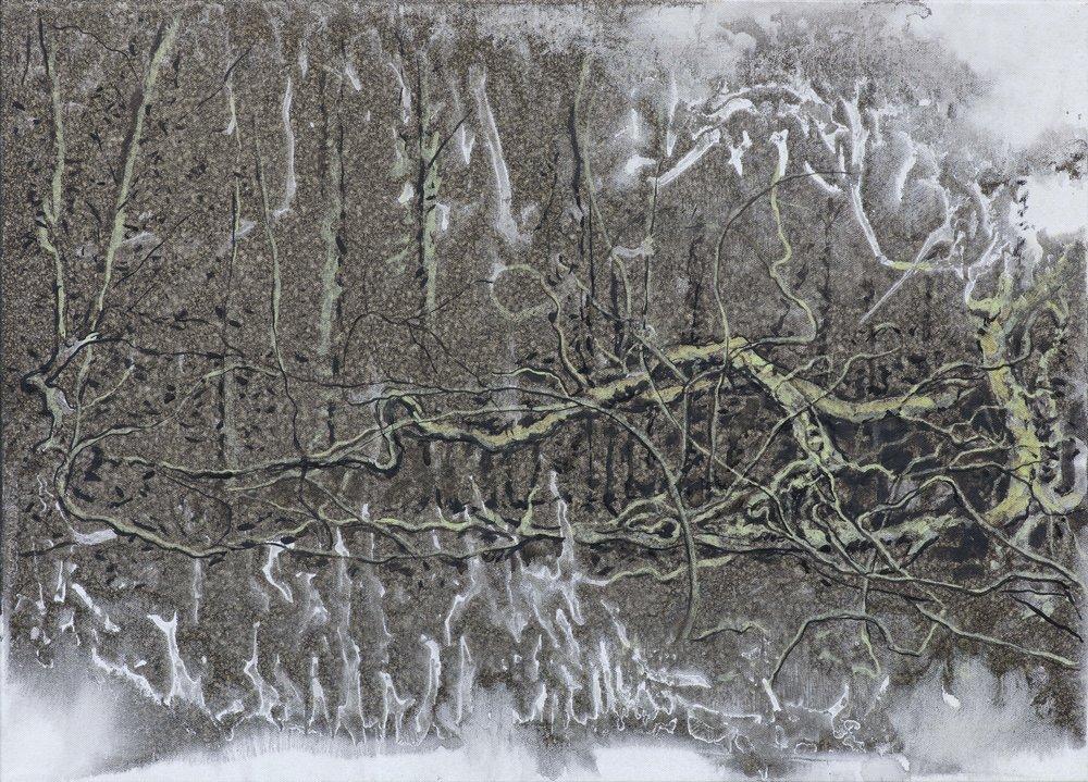 Pra–les, 2016, kombinovaná technika na plátně, 50×70 cm