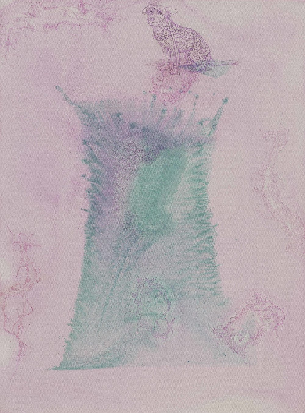 Kosmické šatičky, 2014–15, kombinovaná technika na plátně, 95×70 cm
