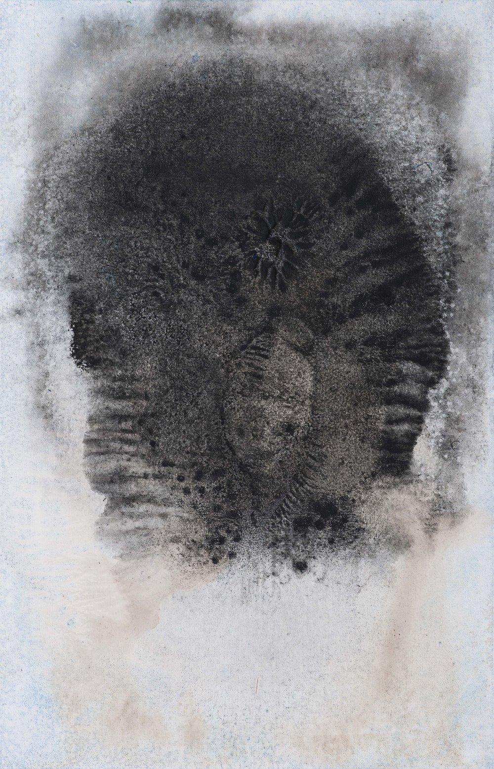 Náčelník, 2015, kombinovaná technika na plátně, 70×45 cm