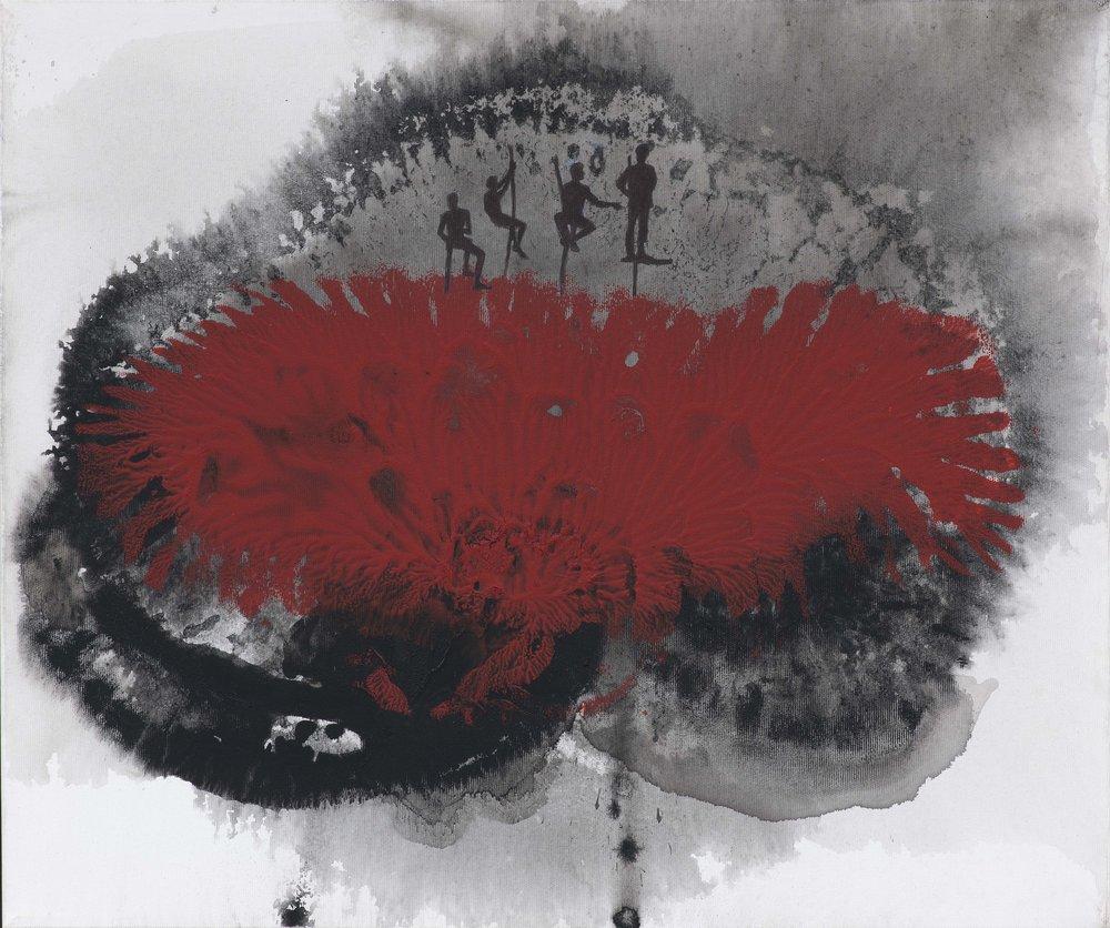 Na vyhlídce,  2015, akryl na plátně, 50×60 cm