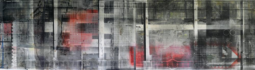 Pod povrchem, 2013, kombinovaná technika na plátně, 395×1390 cm