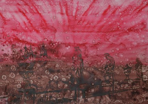 Ohňostroj, 2009,  olej na plátně,  110 x 140 cm