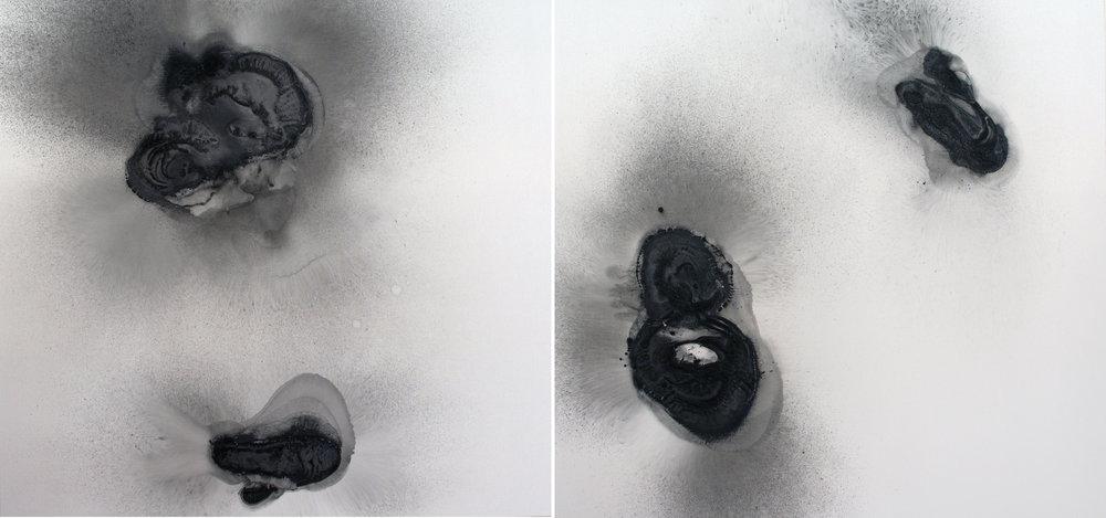 Vyvřeliny I. (levá a pravá část), 2014, akryl na plátně, 170×180 cm