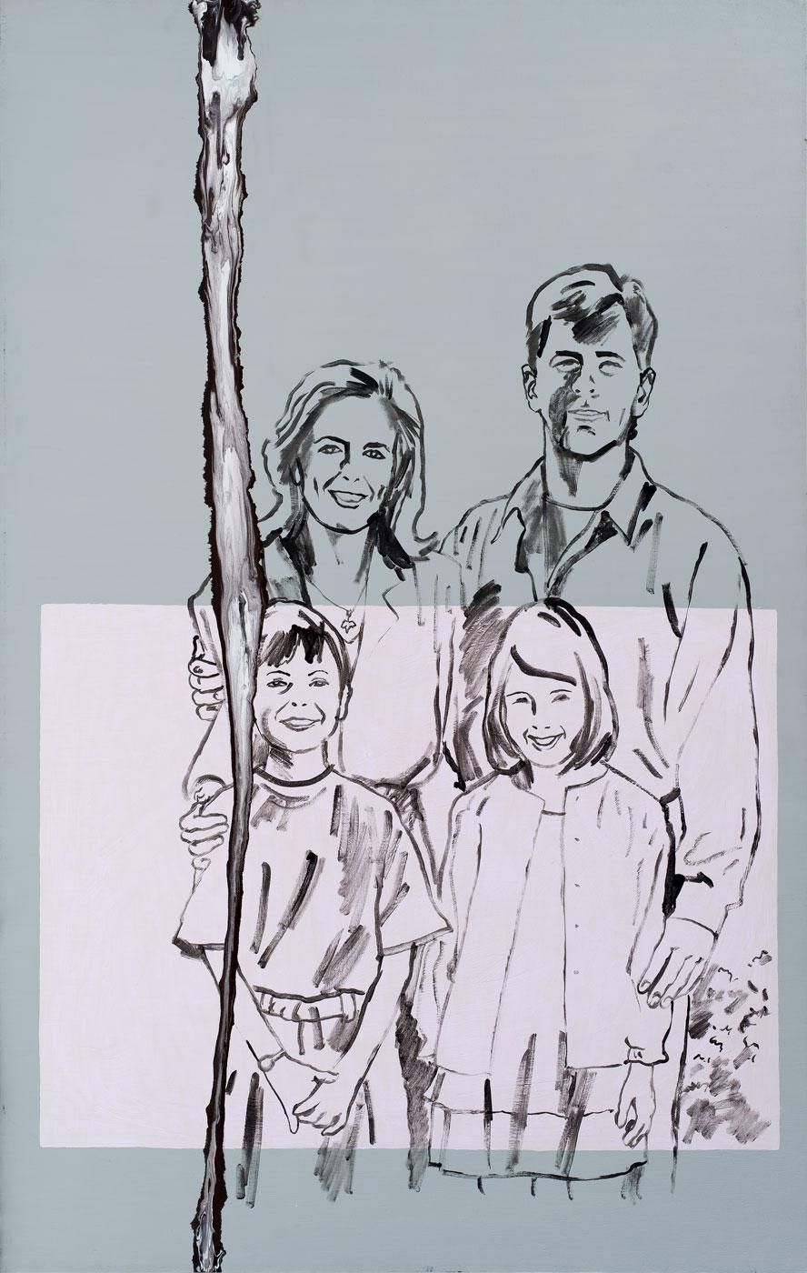 Šťastná rodinka, 1993-2018, akryl na plátně, 190x120 cm
