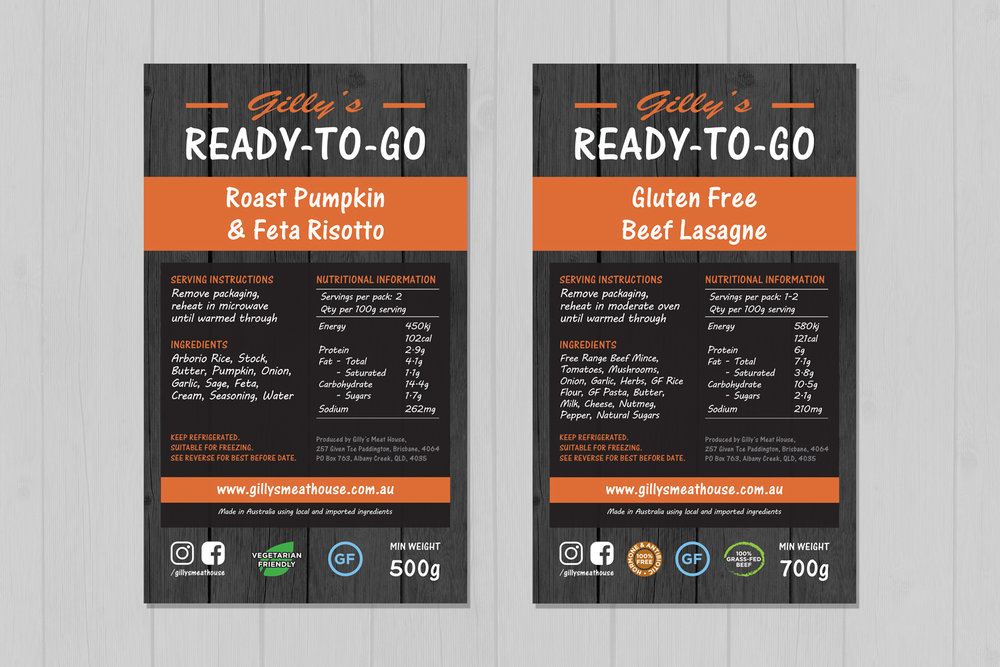 Gilly's Ready-To-Go Packaging Labels