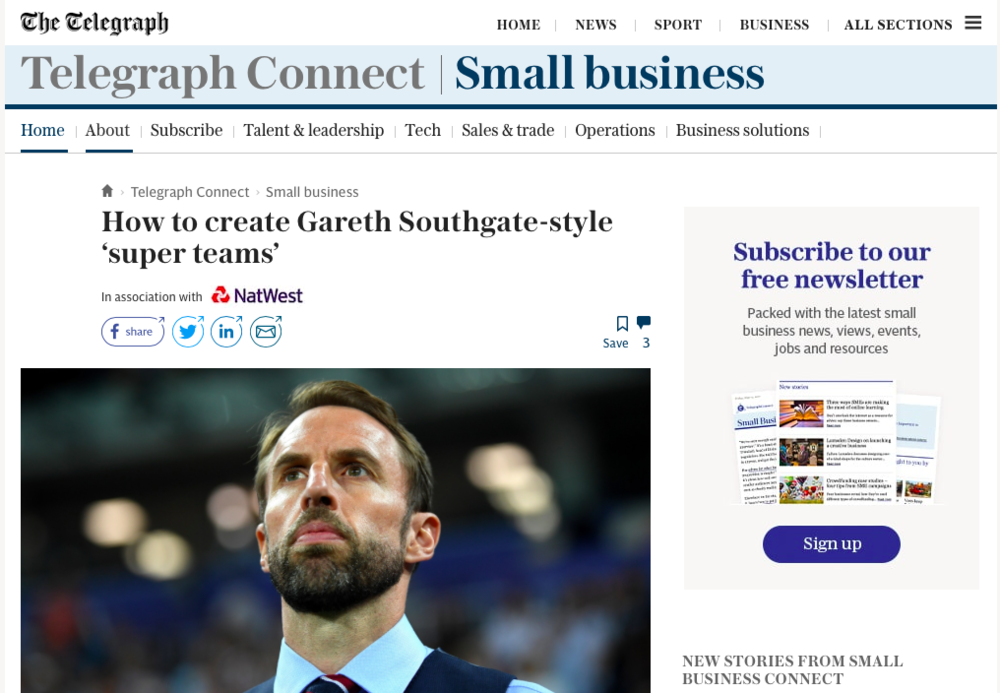 Caspar was featured in this article by the Telegraph  talking about what leaders can learn from England football manager Gareth Southgate.