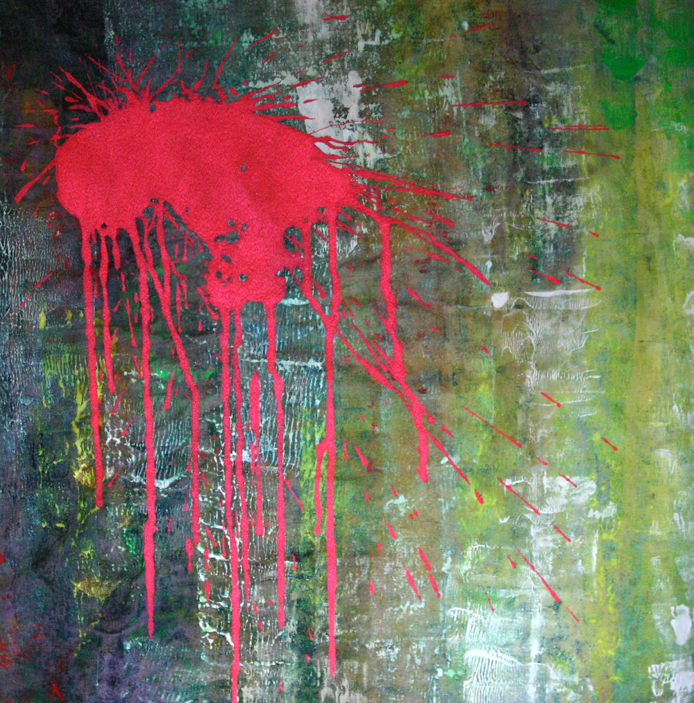 SOLD.   Fortuitous .  60cm x 50cm. Neon red thread machine embroidered into oil and acrylics on canvas. 2015. ©