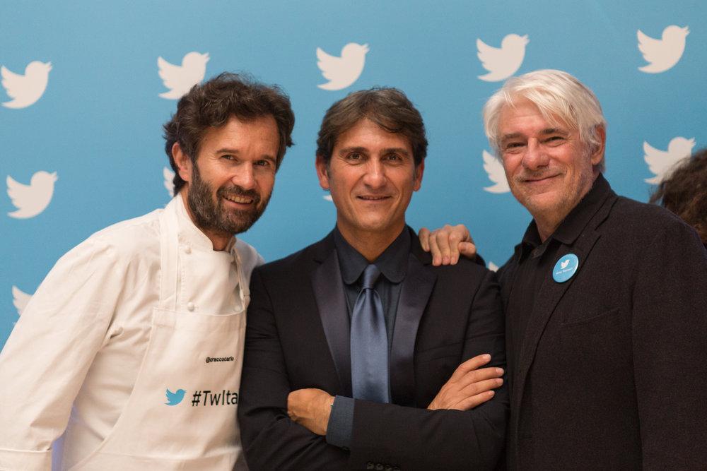Carlo Cracco ,  Salvatore Ippolito  e  Ricky Tognazzi  @  Twitter Italia