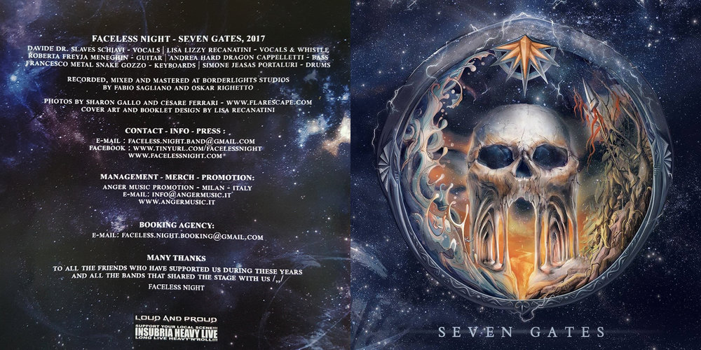 Faceless Night – Seven Gates (2017); cover artwork by Lisa Recanatini