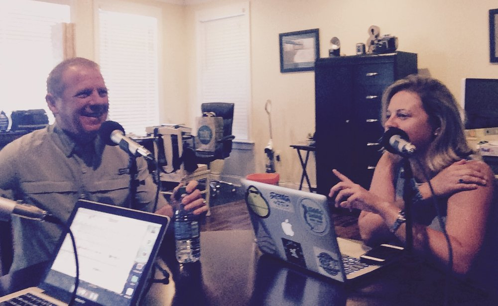 Bud and Stephanie joking around during the podcast recording.