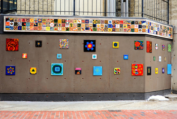 "2015 ""Patterns of Diversity"" By Christos Hamawi Mixed Media Mural for the Josiah Quincy School & Community Center in Boston xtos.net"