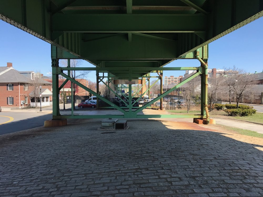 Other end of freeway bridge seperating the Navy yard from the rest of Charlestown
