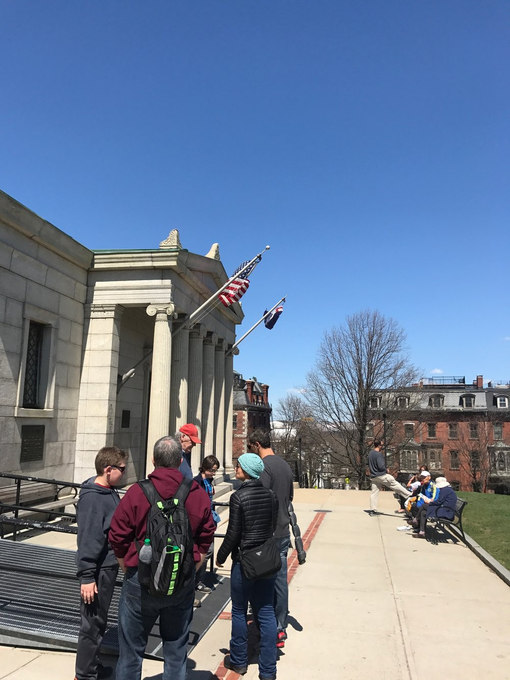 American flag hanging over monument museum
