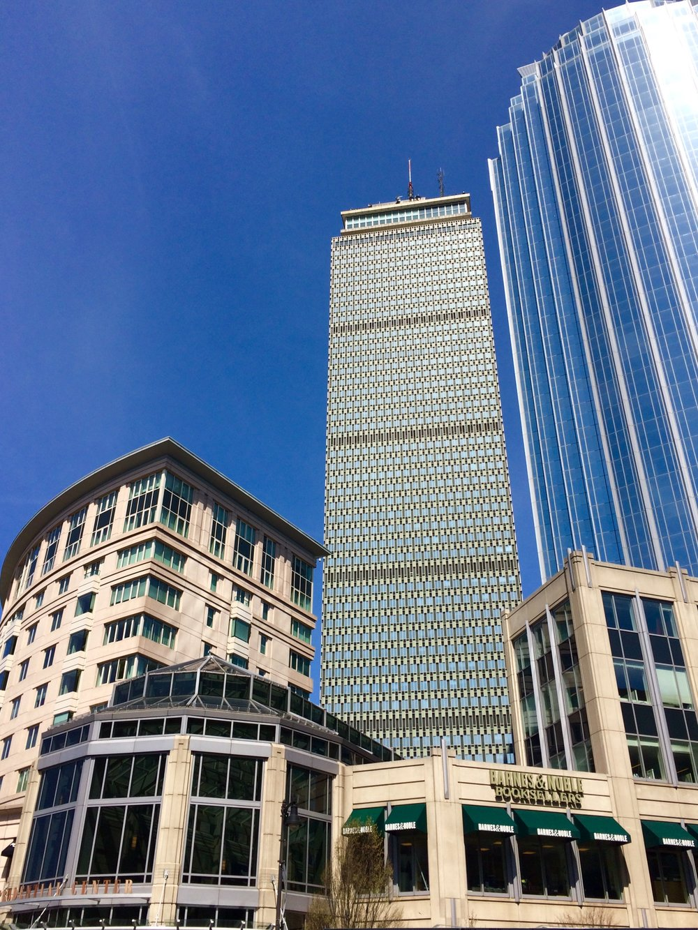 While the Prudential Center is not new, it is a relatively more recent example of Back Bay's architecture compared to the rest of the neighborhood.  Credit: Max Winter