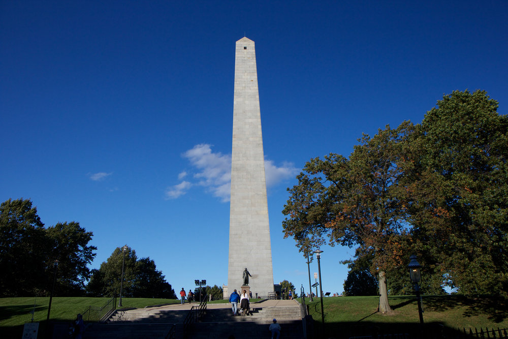 Bunker Hill Monument recognizing those who fought in the Battle of Bunker Hill. Photo taken by Brandon Turner