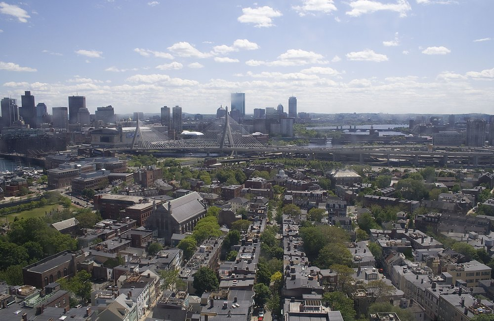 View from the top of the Bunker Hill Monument.  Photo taken from https://commons.wikimedia.org