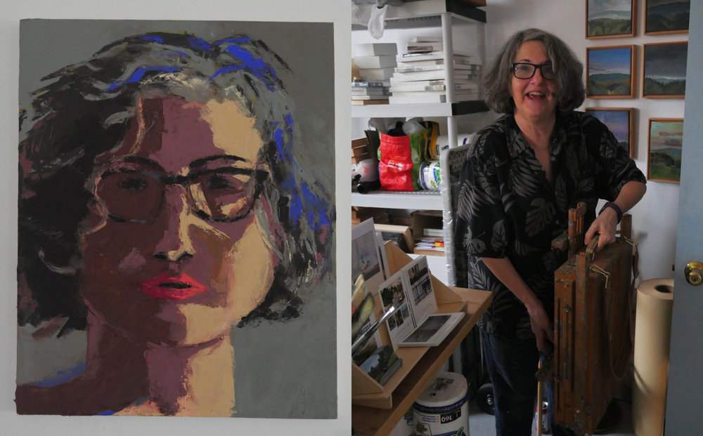 Left, Carol's self-portrait. Right, Carol pulling out her 19th-century wooden easel which she frequently uses outdoors.