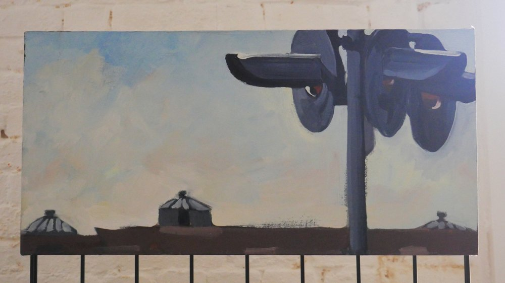 Crossing , a painting of the Charlestown Autoport. Shown at the Danforth Museum's 2010 Off the Wall show.