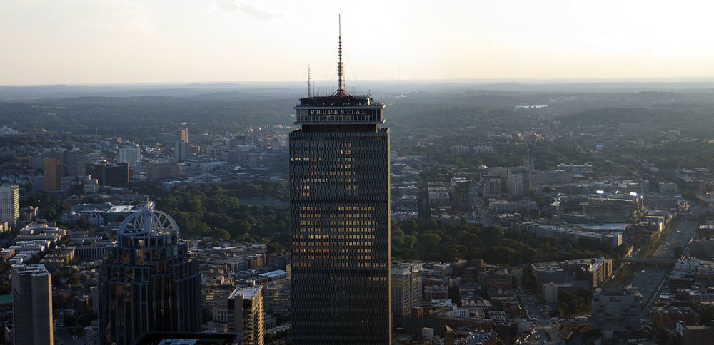 Back Bay's Prudential Tower, Boston's tallest building upon its completion in 1965. Photo Courtesy of Wikimedia Commons.