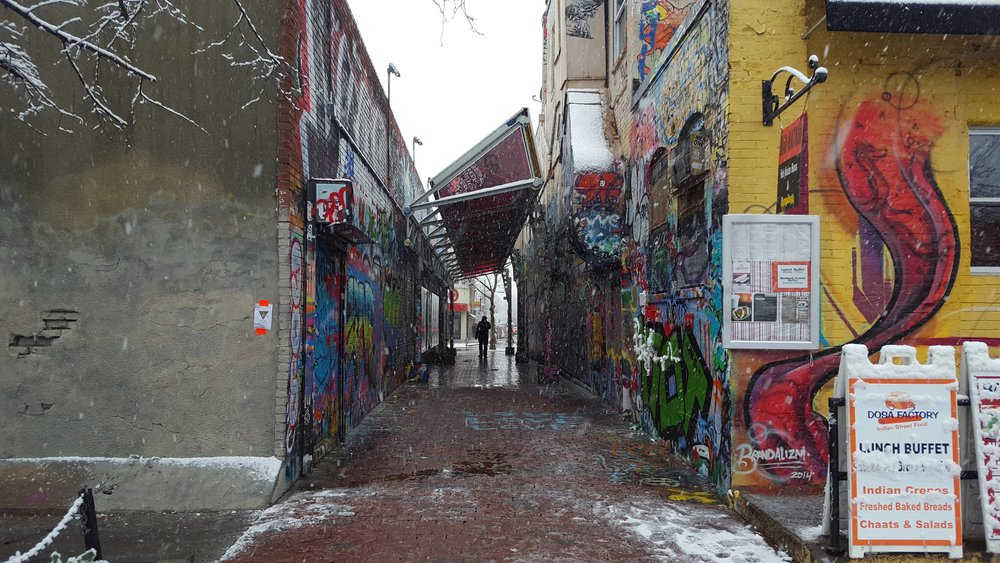 Graffiti Alley in the snow. By Will Wisnieski.