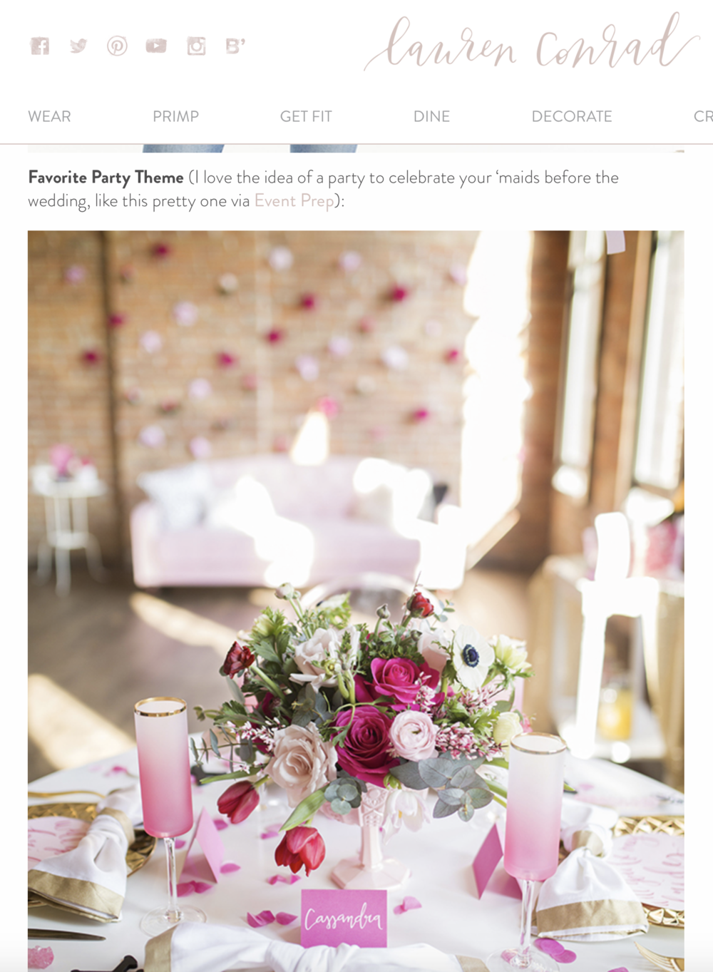 Lauren Conrad Features Event Prep's Styled Shoot