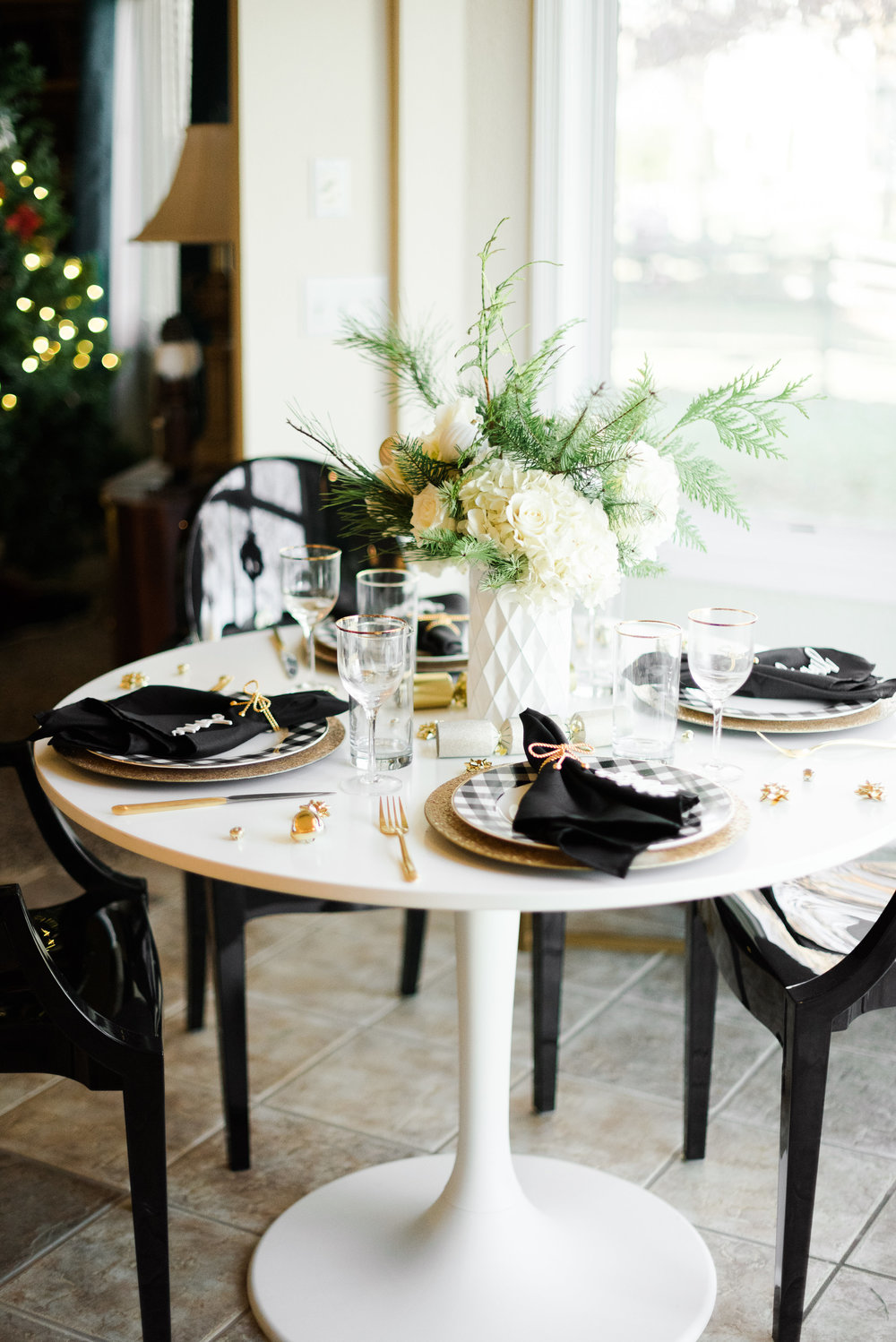 Festive Black & White Holiday Party — Event Prep