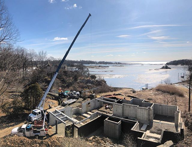 Stetting structural steel at our new Darien waterfront project @fletchercustomhomes