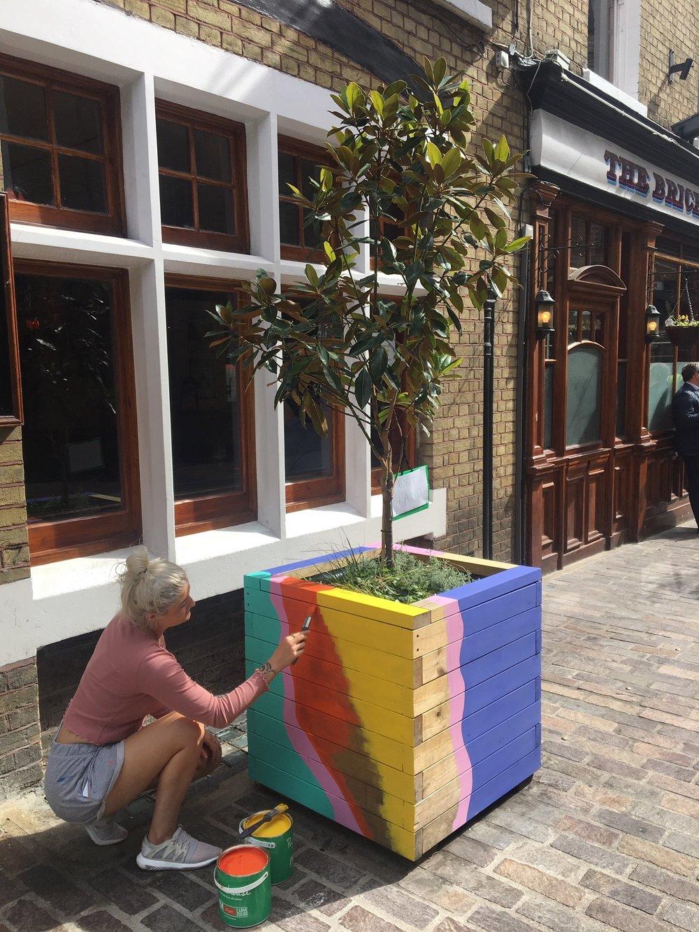 Lois O'Hara Painting Rivington Street Planters