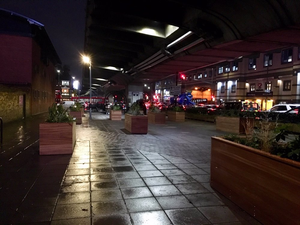 Hammersmith & Fulham Flyover planters at night