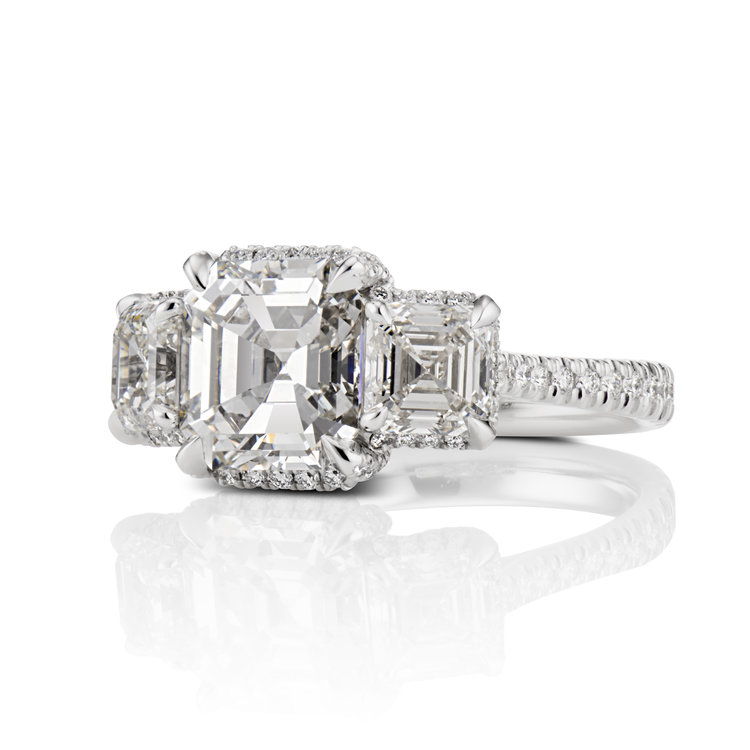3 Stone Asscher Cut Diamond Tucked Pave Frame Engagement Ring In