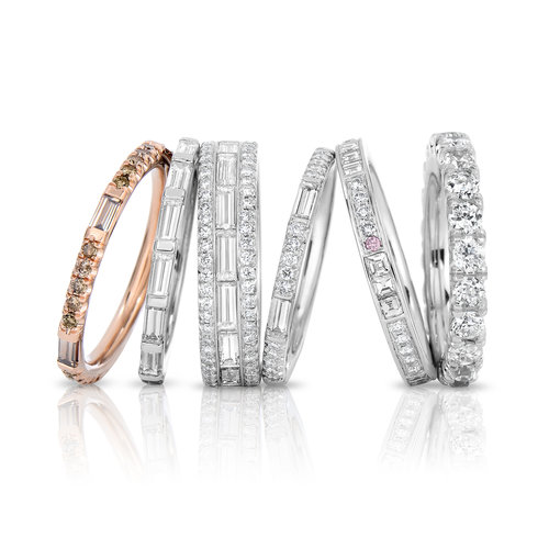 and round media bands diamond platinum channel band set baguette wedding