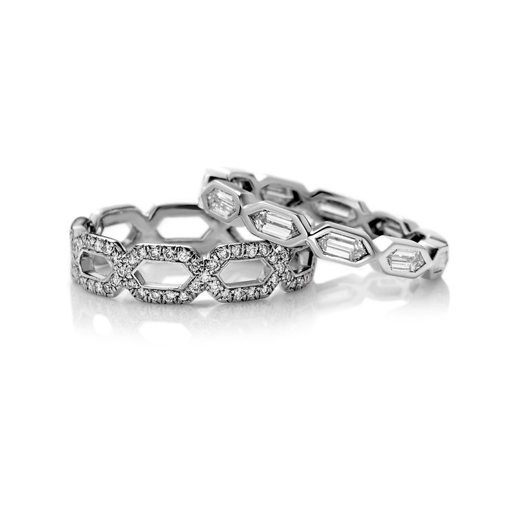 STACKED PAVÉ AND BAGUETTE DIAMOND ETERNITY WEDDING BANDS IN PLATINUM ...