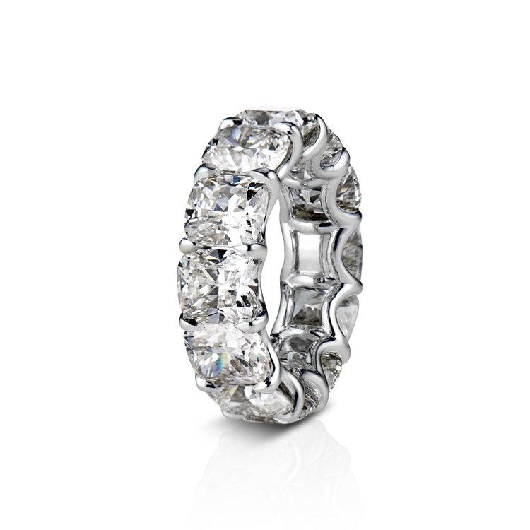 Cushion Cut Diamond Eternity Wedding Band In Platinum David Alan